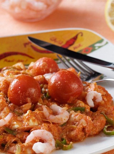 Garneles ar Fetas sieru, tomātiem un uozo