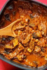 Liellopu gaļa ar baklažāniem