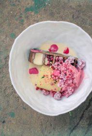 Vafele ar cidoniju sīrupā pagatavotu ābolu, aveņu jogurta saldējumu un aveņu melisas ledu