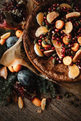 Šokolādes kūka ar mandarīniem un pistācijām