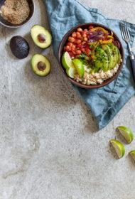 Meksikāņu bļodiņa ar turku zirņiem un rīsiem