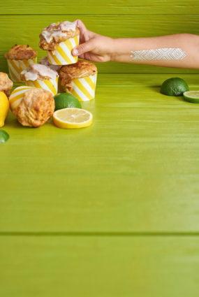 Biezpiena kēksiņi ar citrona glazūru