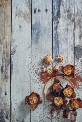 Kvinojas un ābolu mafini