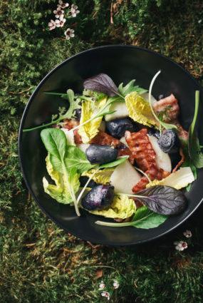 Pīļu siržu salāti ar vasaras dārzeņiem un melleņu mērci